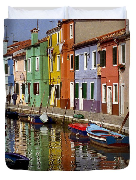 Reflections Of Burano Duvet Cover