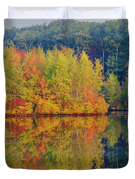 Reflections Of Fall Duvet Cover by Roger Becker