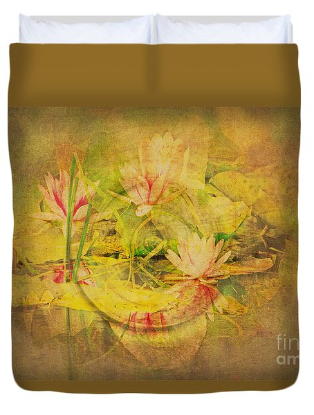 Duvet Cover featuring the photograph Reflections Of Monet's Lilies by MaryJane Armstrong