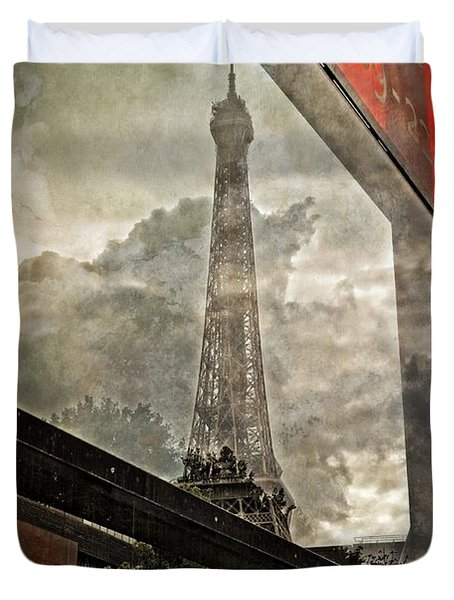 Reflections Of Paris Duvet Cover by Mary Machare