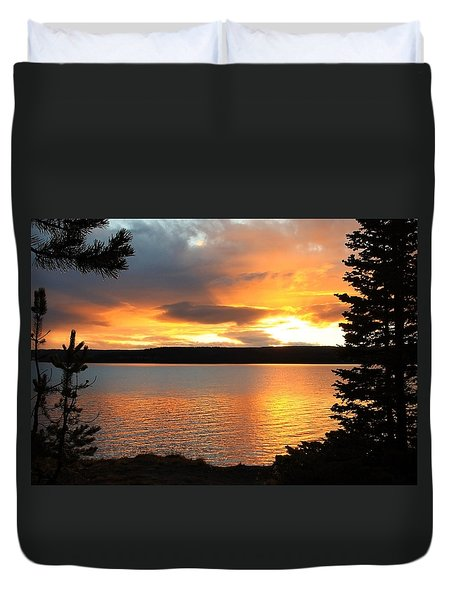 Reflections Of Sunset Duvet Cover by Athena Mckinzie