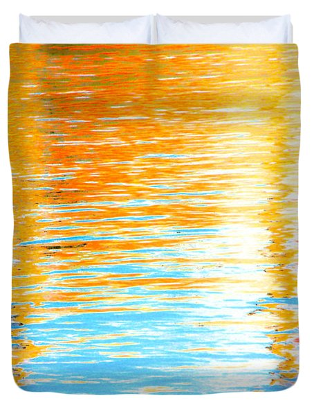 Reflections Of The Setting Sun Duvet Cover by Roselynne Broussard