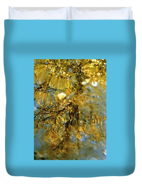 Reflections Of Trees In Gold Duvet Cover