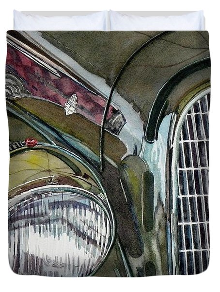 Duvet Cover featuring the painting Reflections On 1931 Alfa Romeo Milano by Anna Ruzsan