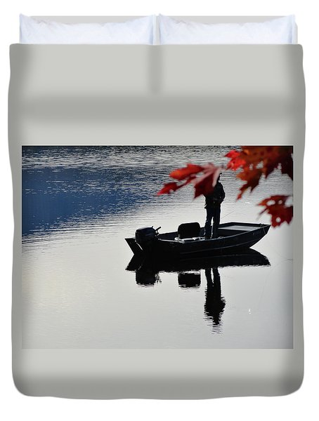 Reflections On Fishing Duvet Cover