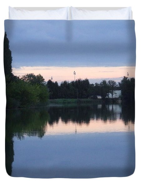 Reflections On La Saone Duvet Cover
