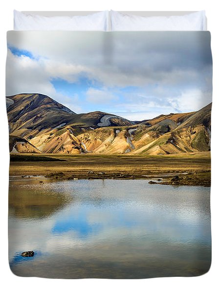 Reflections On Landmannalaugar Duvet Cover