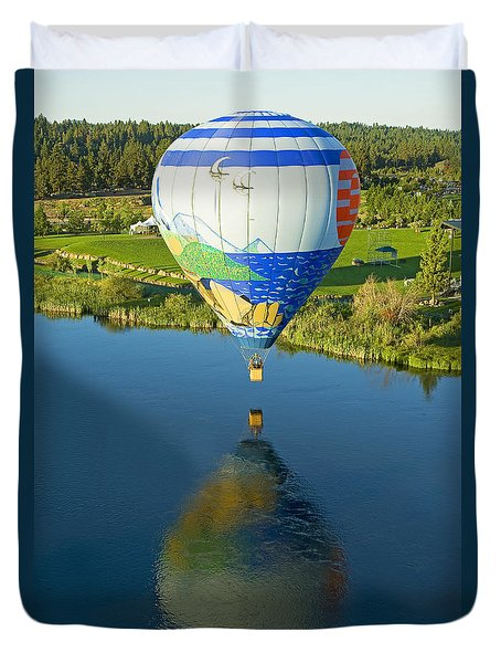 Duvet Cover featuring the photograph Reflections Over The Dechutes by Nick  Boren