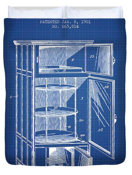 Refrigerator Patent From 1901 - Blueprint Duvet Cover