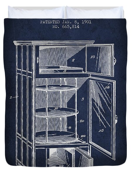 Refrigerator Patent From 1901 - Navy Blue Duvet Cover