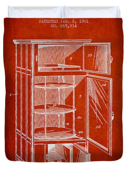 Refrigerator Patent From 1901 - Red Duvet Cover