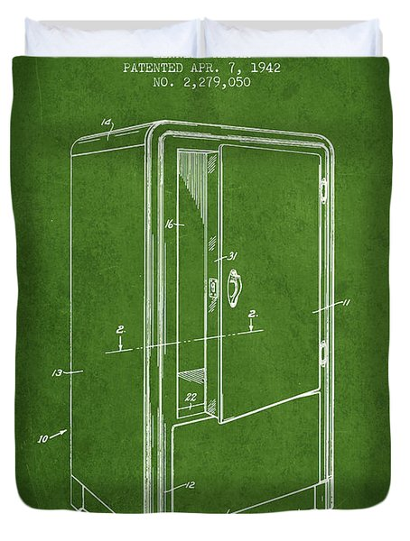 Refrigerator Patent From 1942 - Green Duvet Cover