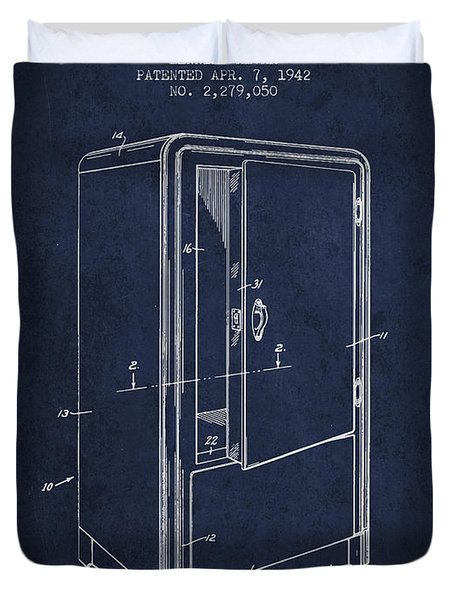 Refrigerator Patent From 1942 - Navy Blue Duvet Cover
