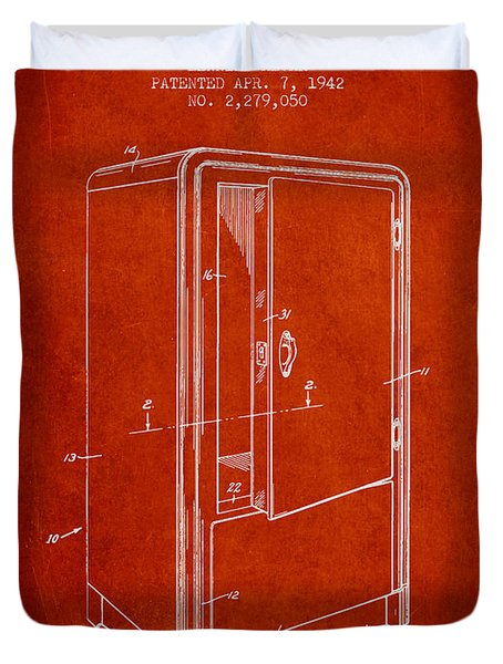 Refrigerator Patent From 1942 - Red Duvet Cover