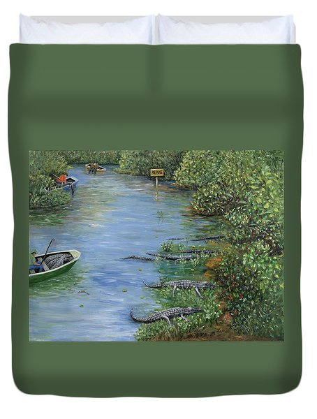 Duvet Cover featuring the painting Refuge? by Karen Zuk Rosenblatt