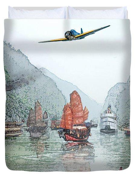 Refugees On The Yangtze Duvet Cover