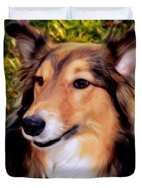 Dog - Collie - Regal Shelter Dog Duvet Cover by Luther Fine Art