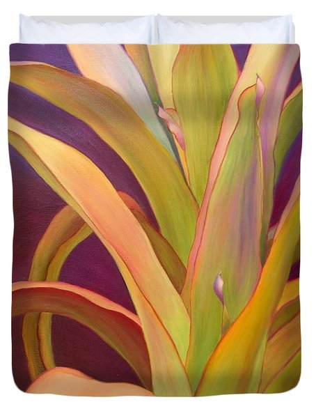Duvet Cover featuring the painting Regalia by Sandi Whetzel