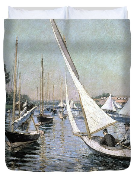 Regatta At Argenteuil Duvet Cover by Gustave Caillebotte