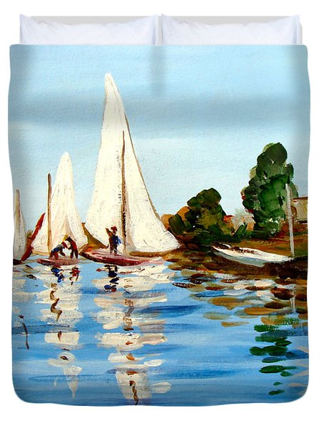 Regatta De Argenteuil Duvet Cover by Karon Melillo DeVega