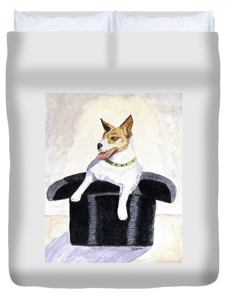 Duvet Cover featuring the painting Reggie In A Top Hat  by Angela Davies