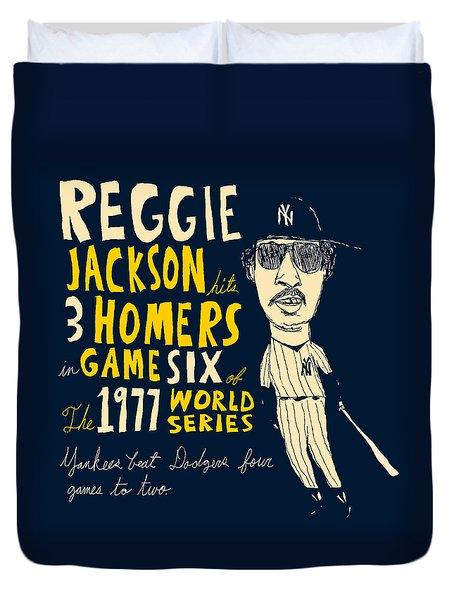 Reggie Jackson New York Yankees Duvet Cover by Jay Perkins