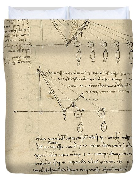 Register Of Milan Cathedral Weight And Study Of Relationship Between Position Of Beam Duvet Cover by Leonardo Da Vinci