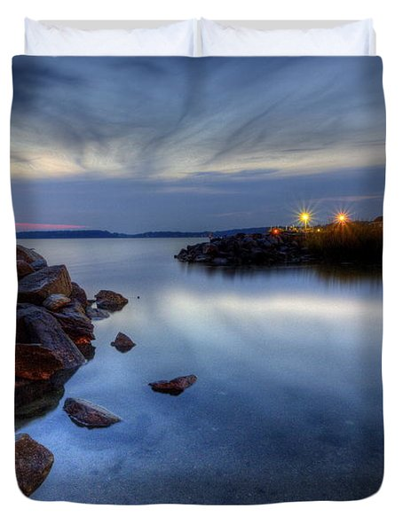 Rehoboth Bay Sunset At Dewey Beach Duvet Cover