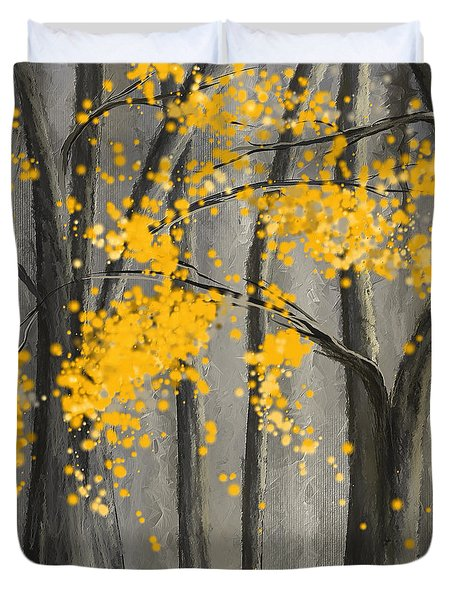 Rejuvenating Elements- Yellow And Gray Art Duvet Cover