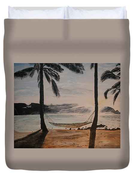 Relaxing At The Beach Duvet Cover