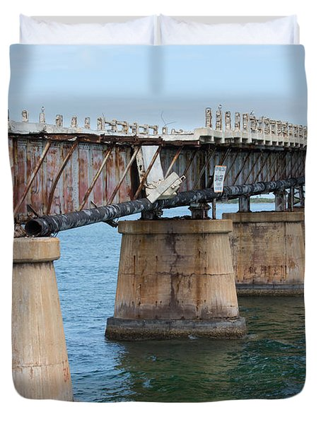 Relic Of The Old Florida Keys Overseas Railroad Duvet Cover