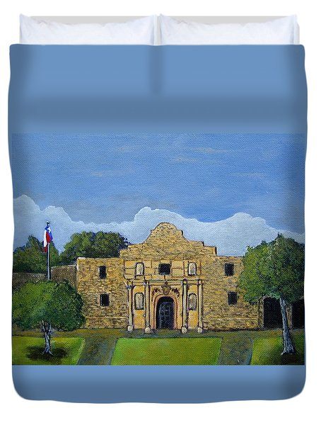 Duvet Cover featuring the painting Remember The Alamo by Suzanne Theis