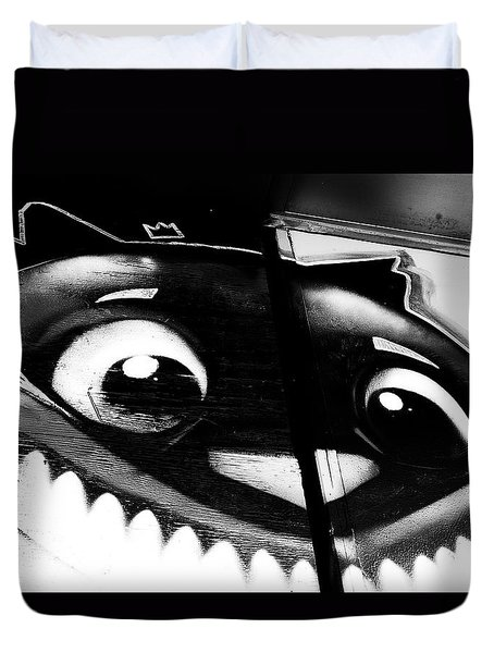 Duvet Cover featuring the photograph Remembering Wonderland - Urban Cheshire Cat by Steven Milner