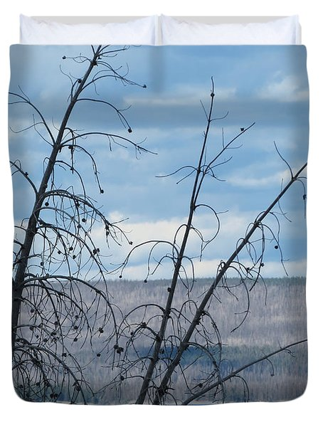 Duvet Cover featuring the photograph Remnants Of The Fire by Laurel Powell