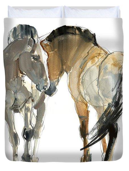 Rencontre Przewalski, 2013, Watercolour And Pigment On Paper Duvet Cover