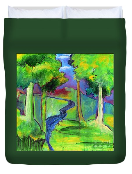 Duvet Cover featuring the painting Rendezvous Triptych by Elizabeth Fontaine-Barr