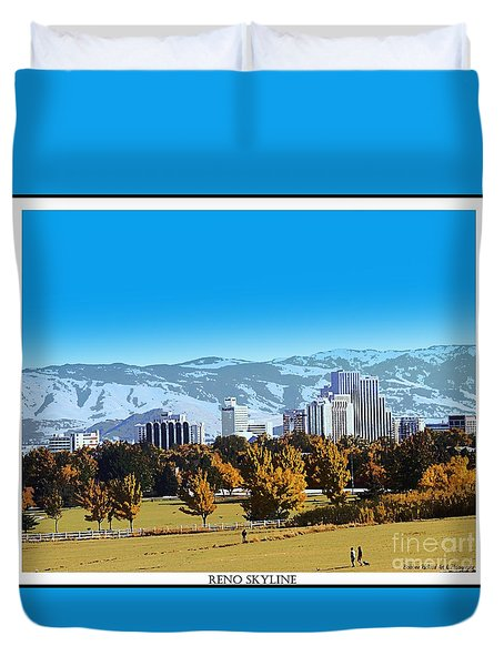 Reno Skyline From Rancho San Rafael Duvet Cover