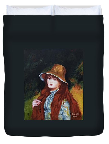 Renoir-young Girl In A Straw Hat Duvet Cover