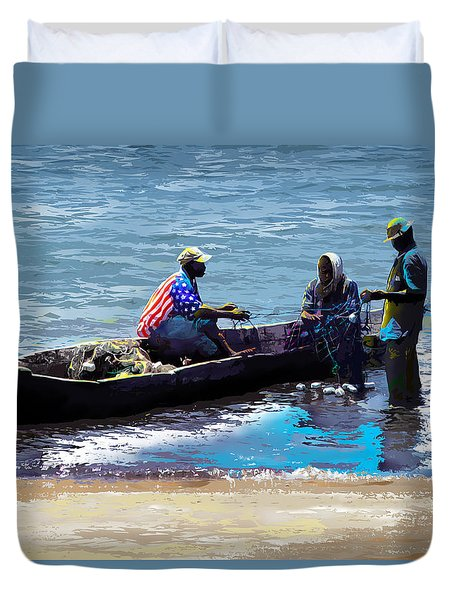 Duvet Cover featuring the painting Repairing The Net At Lake Victoria by Anthony Mwangi