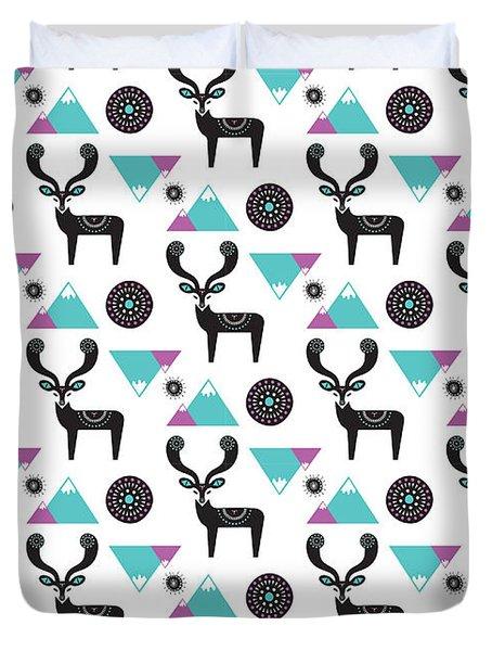 Repeat Print - Folk Deer Duvet Cover by Susan Claire