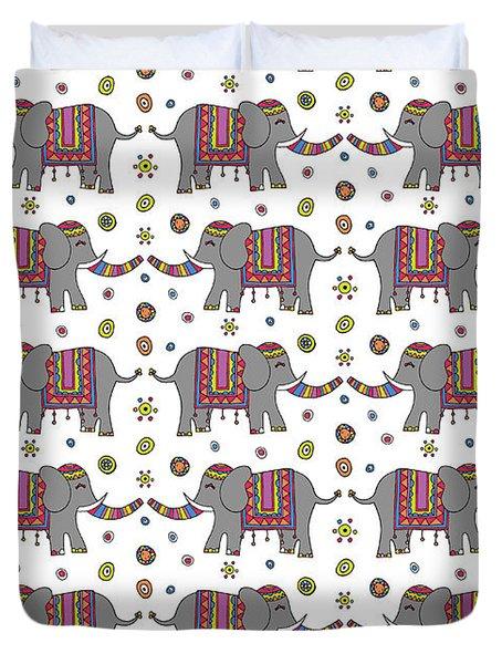 Repeat Print - Indian Elephant Duvet Cover