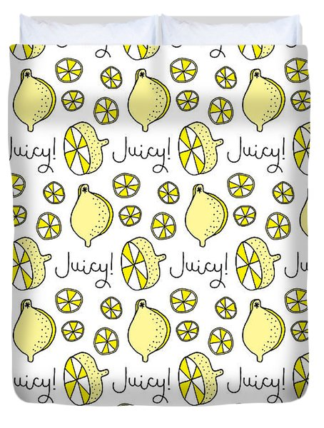Repeat Prtin - Juicy Lemon Duvet Cover by Susan Claire