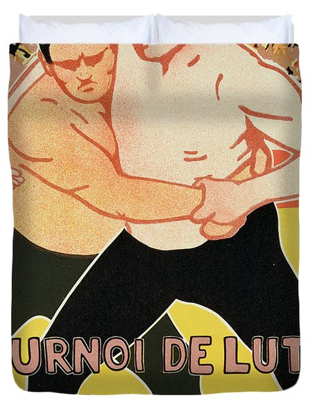 Reproduction Of A Poster Advertising A Wrestling Tournament Duvet Cover