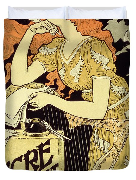 Reproduction Of A Poster Advertising 'marquet Ink' Duvet Cover by Eugene Grasset