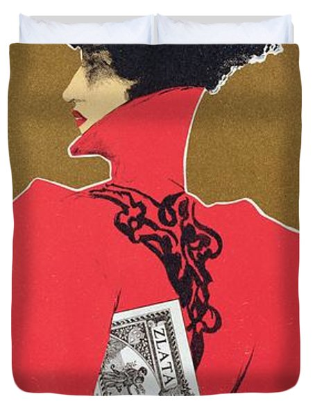 Reproduction Of A Poster Advertising 'zlata Praha' A Weekly Illustrated Newspaper Duvet Cover by Czech School