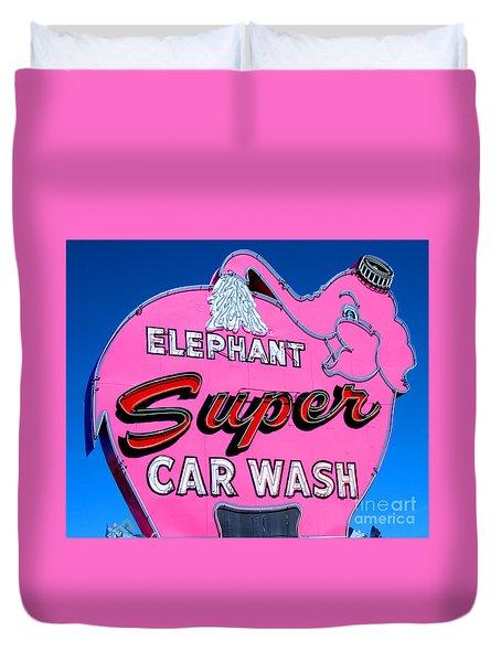 Elephant Super Car Wash Sign Seattle Washington Duvet Cover