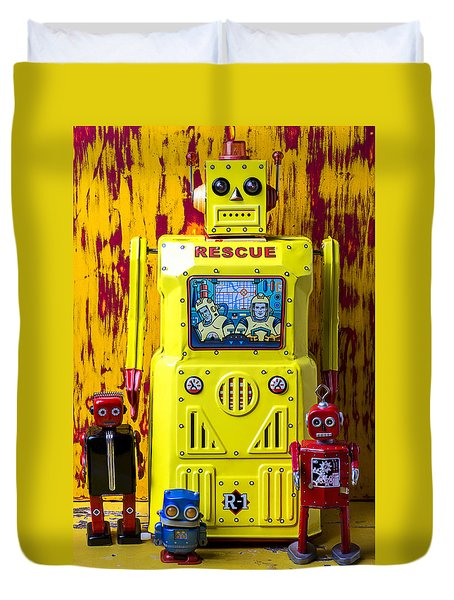 Rescue Robot Duvet Cover by Garry Gay
