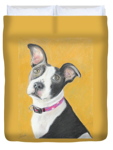 Rescued Pit Bull Duvet Cover by Jeanne Fischer