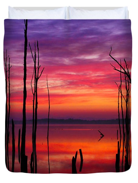 Reservoir At Sunrise Duvet Cover by Roger Becker
