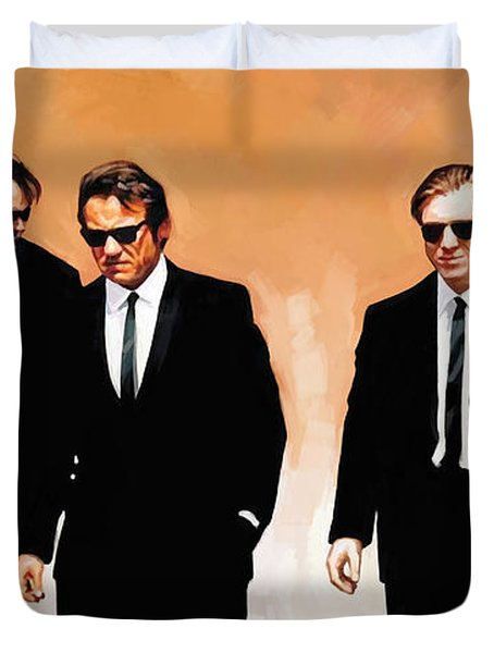 Duvet Cover featuring the painting Reservoir Dogs Movie Artwork 1 by Sheraz A